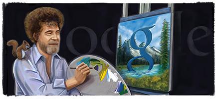 Doodle 70ème anniversaire de Bob Ross