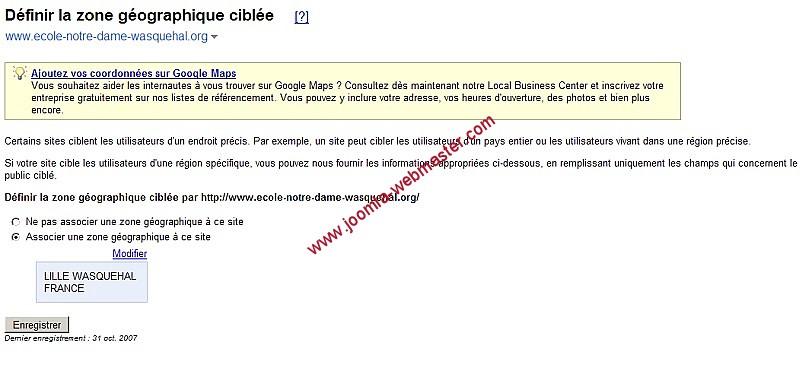 definir-la-zone-geographique-ciblee sur Google Webmaster tools