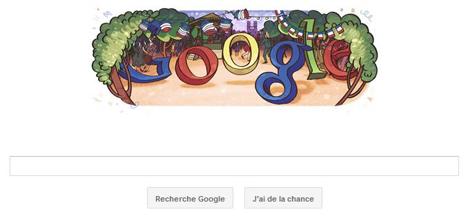 doodle google pour le 14 juillet 2011, fête nationale en France