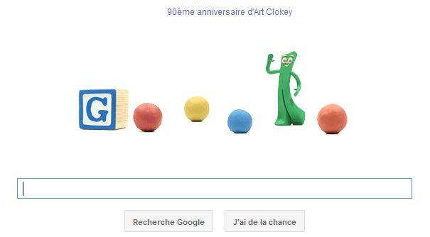 90eme anniversaire de Art Clokey par Google et Doodle animé