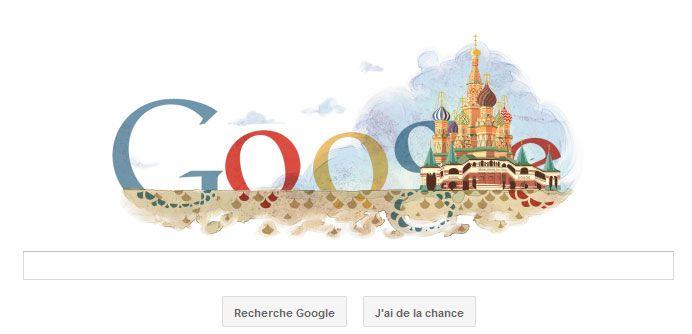 Google fête par un doodle, les 450 ans de la cathédrale Saint Basile en Russie.e-cathedrale-saint-basile