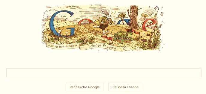 Doodle sur Jean de la Fontaine par le logo Google