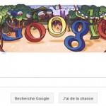 Google mets son Doodle aux couleurs de la fête nationale française du 14 juillet.