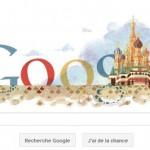 Doodle pour la commémoration d'un symbole religieux Russe: la cathédrale Saint Basile.