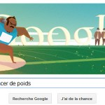 Google présente un doodle Londres 2012 Lancer de poids