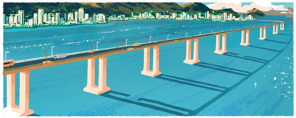 Doodle 42e anniversaire du pont Rio Niteroi